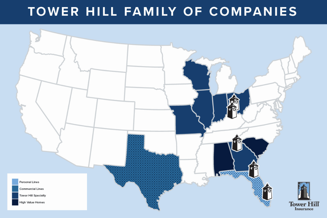 Tower Hill Insurance Group Map of Service Areas
